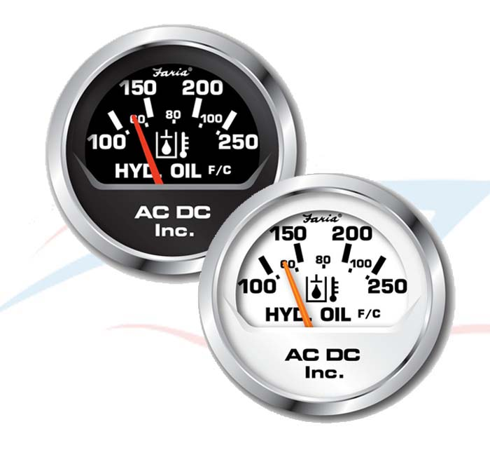 Black and White 250F Pressure Gauge