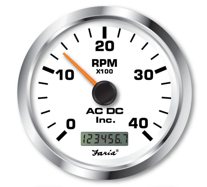 White Hour Meter : Non programmable tachometer with digital hourmeter