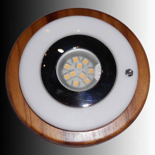Teak Framed Fixture Light with Stainless Steal & LED Lightbulb