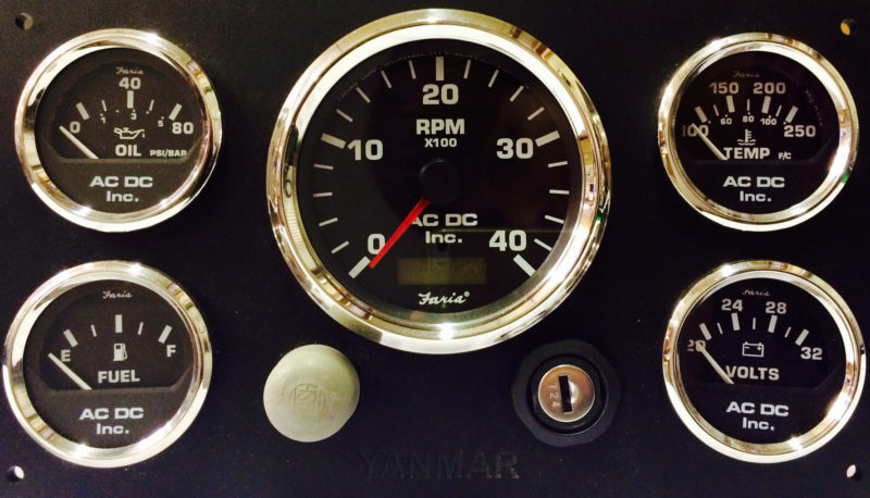 black yanmar marine engine instrument panel  black gauges