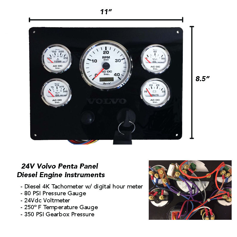 24 Volt Volvo Penta Engine Instrument Panel