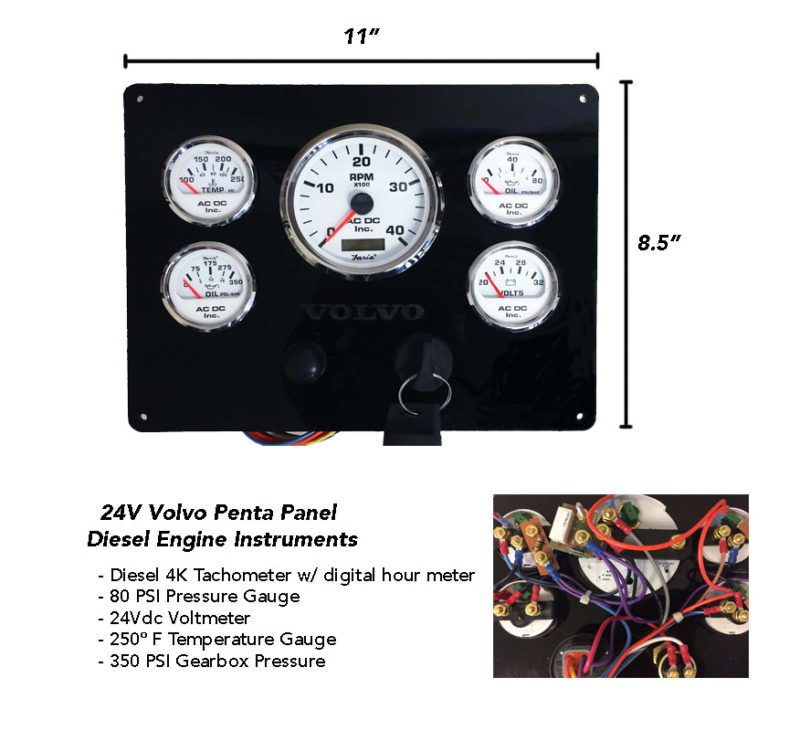 24 Volt Volvo Penta Engine Instrument Panel