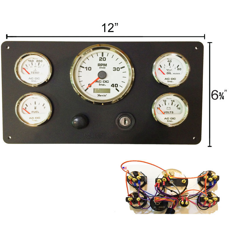 B CAT WH 126.75 800x800 black caterpillar engine instrument panel, white gauges ac dc  at bayanpartner.co