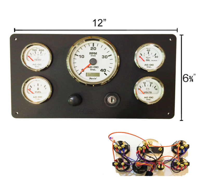 B CAT WH 126.75 black caterpillar engine instrument panel, white gauges ac dc caterpillar 3208 marine engine wiring diagram at gsmx.co