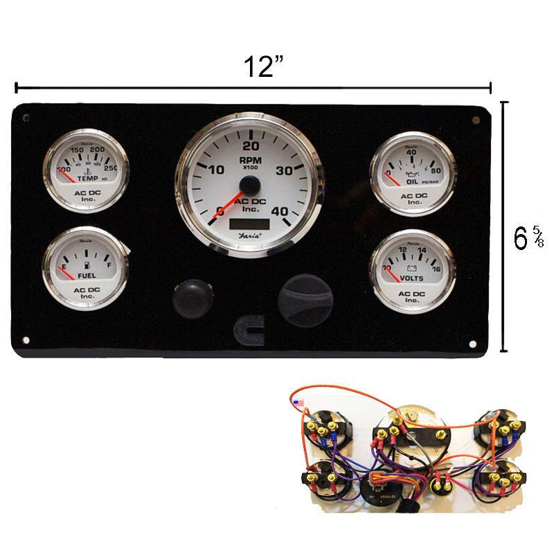 black cummins marine engine instrument panel  white gauges ac dc marine inc VDO Oil Pressure Wiring Diagrams VW VDO Tach Wiring