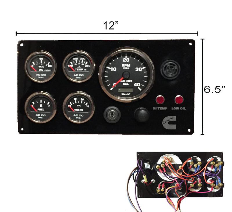 B CUMM BL 126 black cummins engine instrument panel, black gauges ac dc marine boat instrument panel wiring diagrams at fashall.co