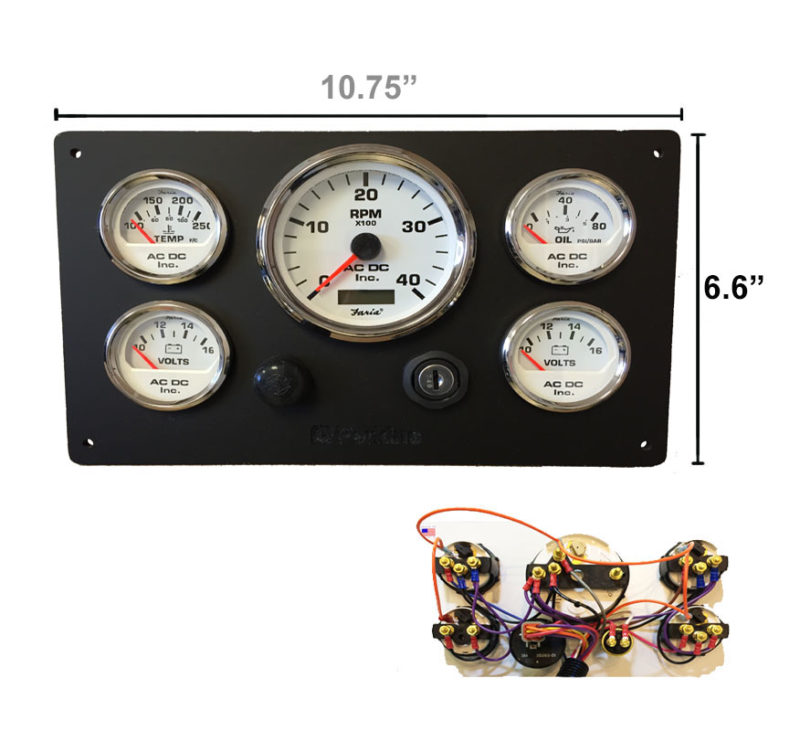 Black Perkins Marine Engine Instrument Panel White Gauges