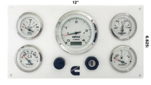 5 Gauges Cummins Engines Marine Instrument Panel White in White