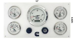 5 Gauges Cummins Engines Marine Instrument Panel White in White