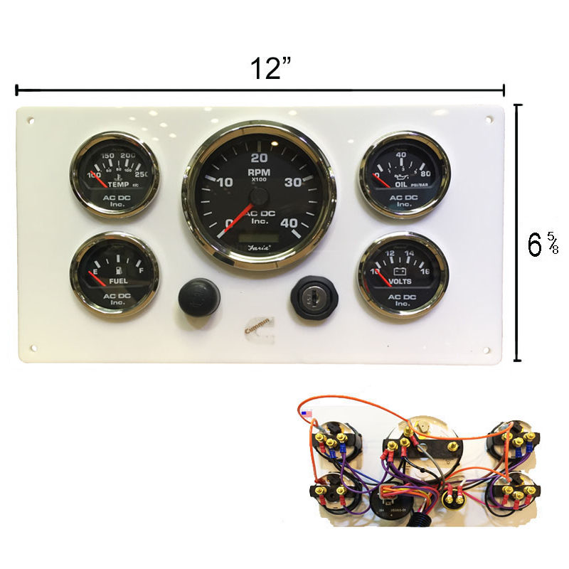 White Cummins Marine Engine Instrument Panel  Black Gauges
