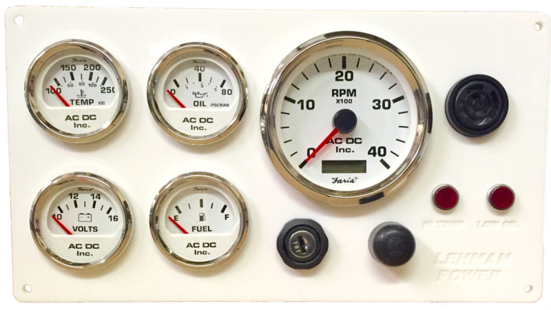 white lehman power diesel marine engine instrument panel white wlehmanwhitegauges