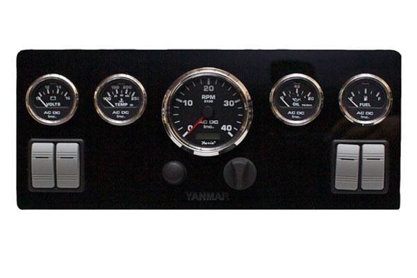 Black Yanmar Marine Instrument Panel With 4 Rocker Switches, Black Gauges  16