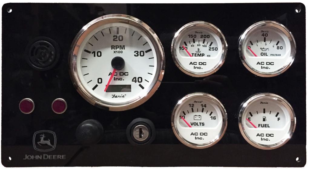 John Deere Diesel Marine Instrument Panel, White Gauges