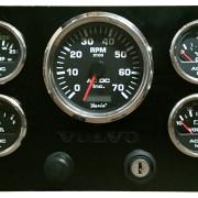 Volvo Penta 7K RPM Black Panel Black Gauges