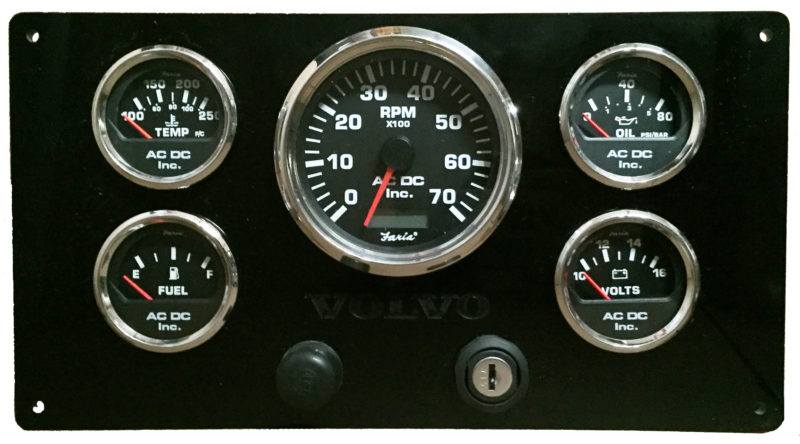 Volvo Penta 7K RPM Black Panel Black Gauges 7k rpm volvo penta engine panel ac dc marine, inc