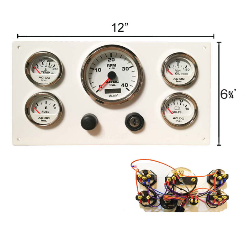 W CAT WH 126.75 white caterpillar marine engine instrument panel, white gauges  at bayanpartner.co