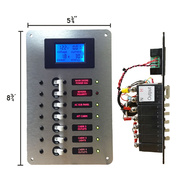 ac main with circuit breaker panel with digital ac voltmeter
