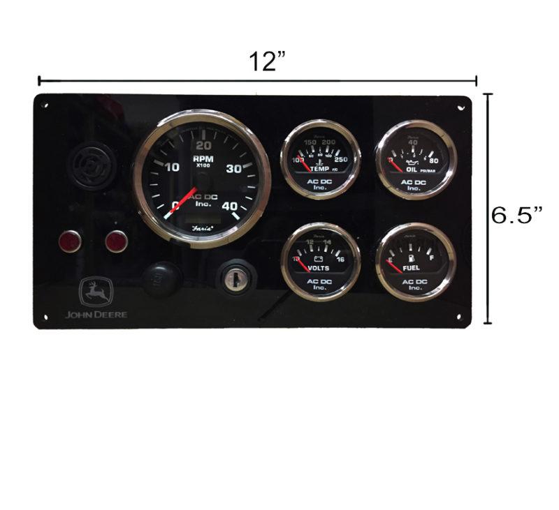 B JON BL 12X6 john deere engine panel, black gauges ac dc marine, inc John Deere Electrical Diagrams at virtualis.co