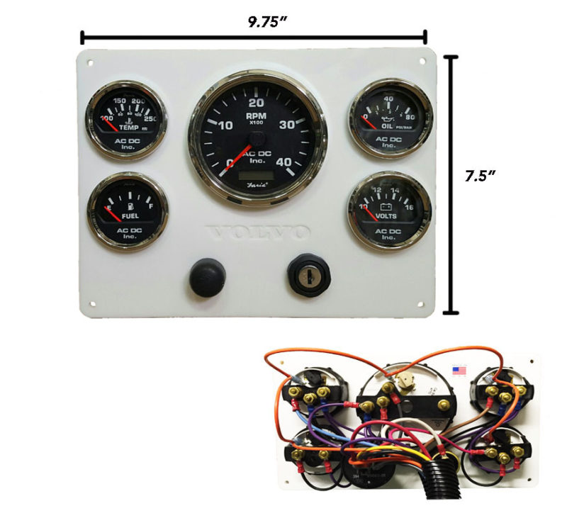 White Volvo Diesel Engine Instrument Panel, Black Gauges