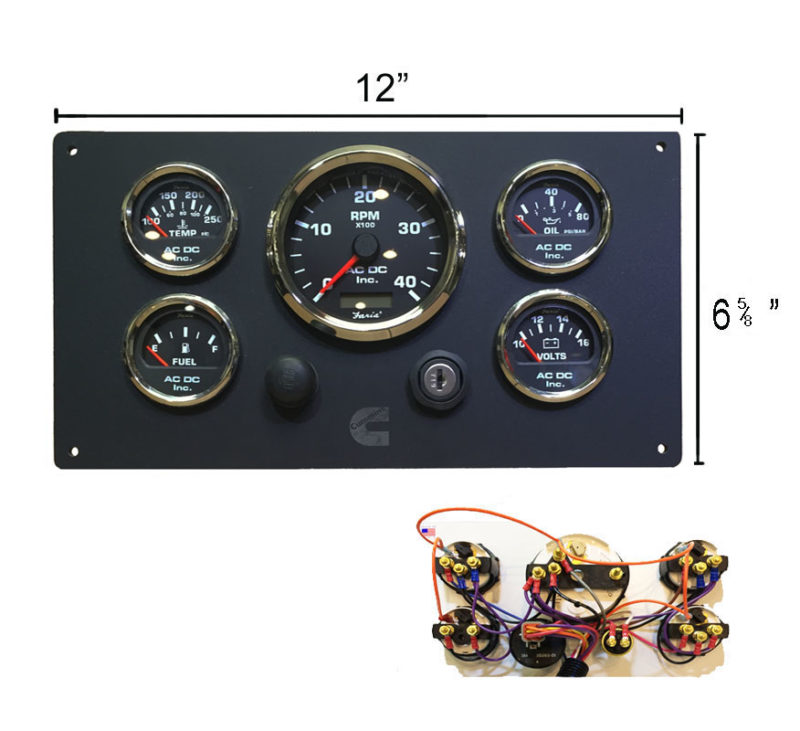 black cummins engine instrument panel ac dc marine inc VDO Oil Pressure Wiring Diagrams VDO Gauges Wiring in a Volkswagen Beetle