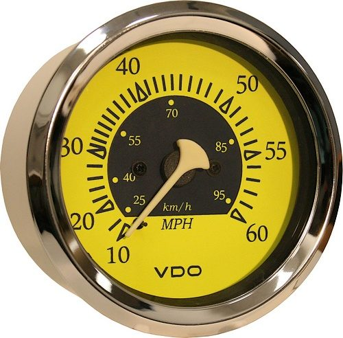 VDO Allentare yellow/blue 60 mph 3 3/8 (85mm)#260-14754