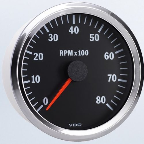 tachometers rpm ac dc marine inc vdo vision chrome variable ratio 8 000 rpm tachometer 333 195