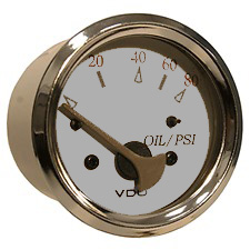 White/grey 80psi oil Pressure gauge 350-13296