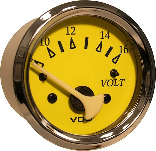 Yellow/blue voltmeter 8-16v #332-14764