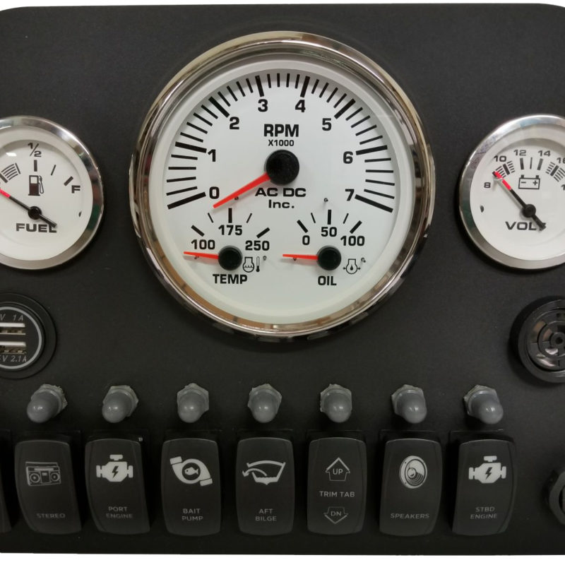 Multigauge Panel with Rocker Switches and push buttons