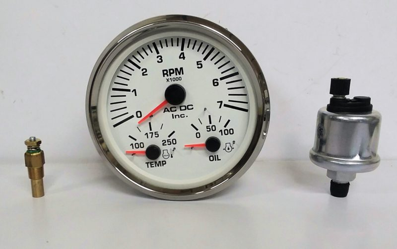 Multi Function Gauge Gasoline White 7k Tach Gauge Kit
