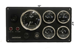 Doosan Diesel Engine Marine Instrument Panel 5 Gauges Black