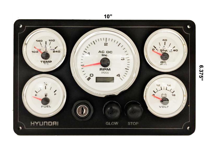 Hyundai Diesel Engine Instruments  Panel,RPM,Pressure,Fuel,Tachometer,Volt,white