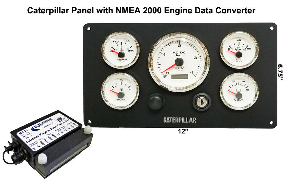 *Caterpillar Marine Engine Instrument Panel With NMEA 2000 Engine Data  Converter