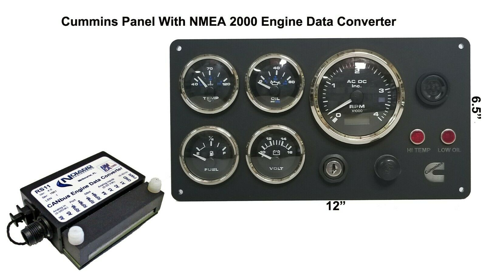 **Cummins Marine Instrument Panel With NMEA 2000 Engine Data Converter  Package black