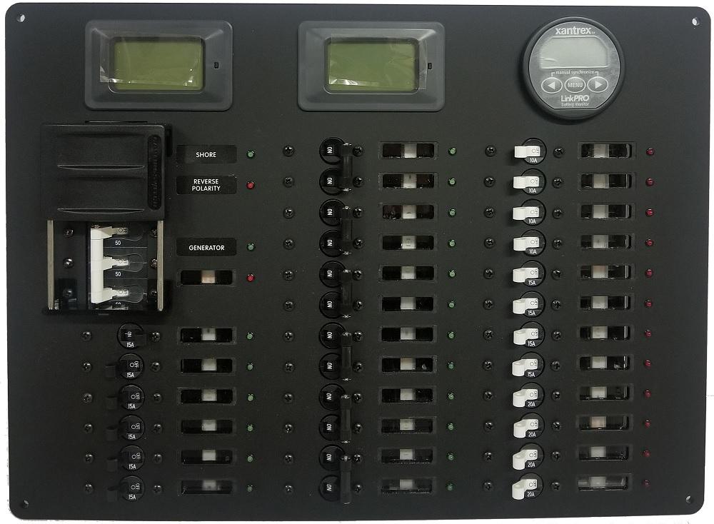 **AC/DC POWER DISTRIBUTION PANEL, 29+ POSITION Blue Sea Circuit Breaker  Switches Xantrex LinkPro